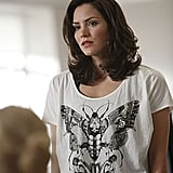 Karen in a cool graphic tee.
