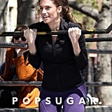 Allison Williams worked on her fitness in NYC on Wednesday for new episodes of HBO's Girls.