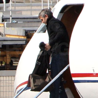 George Clooney on a Private Jet