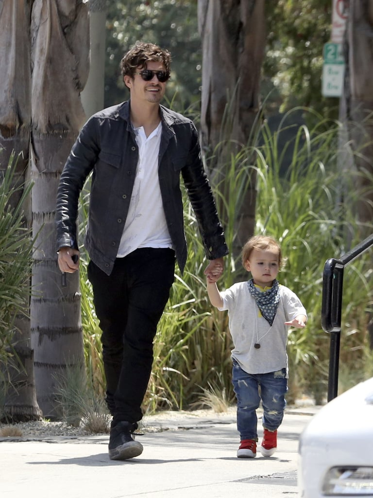 Orlando Bloom walked with son Flynn in LA.