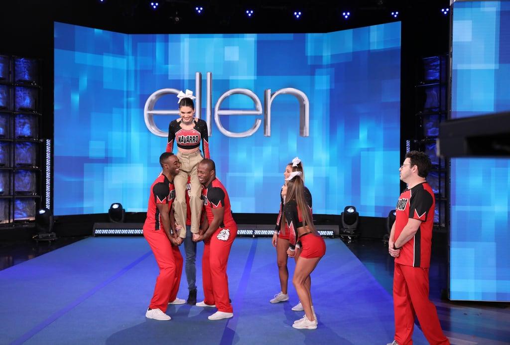 Kendall Jenner Wearing a Navarro Cheer Crop Top on Ellen ...