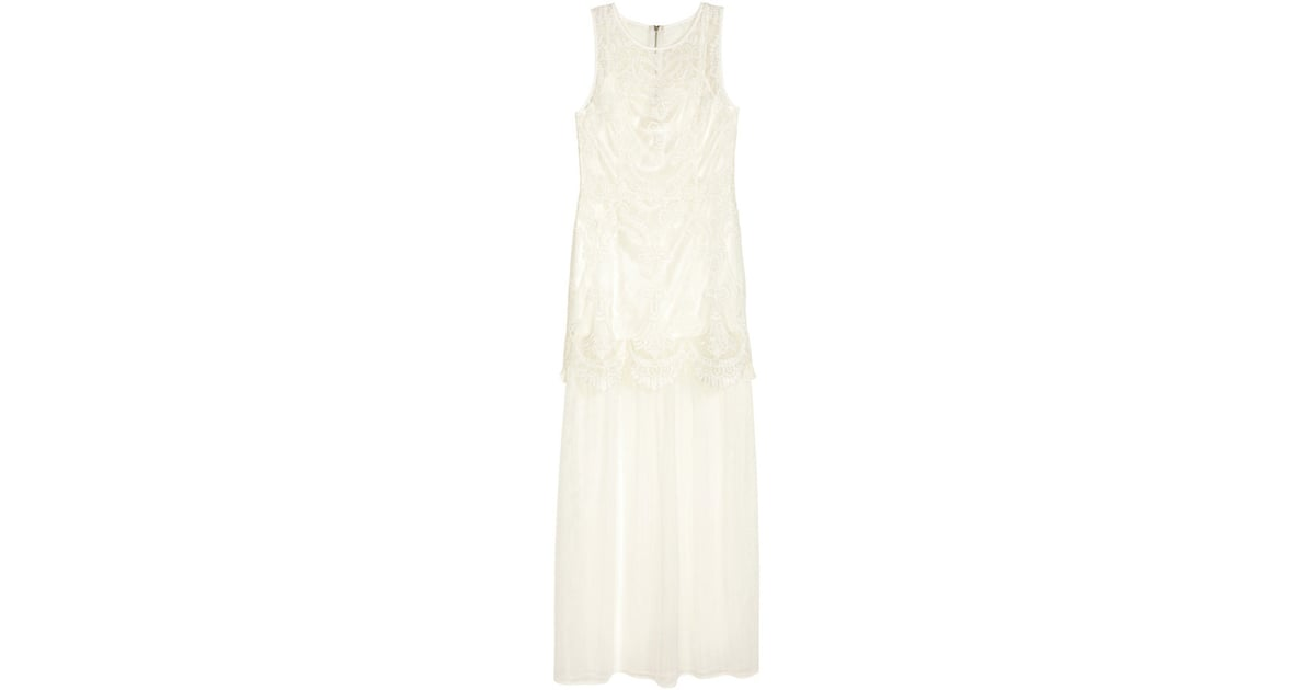 ff1e847342c H M Embroidered Tulle Dress White Ladies ( 70)