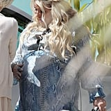 Jessica Simpson wore a blue dress for her baby shower.
