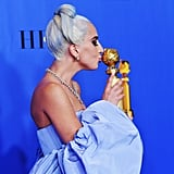 """Lady Gaga was absolutely elated over her and Bradley Cooper's A Star Is Born song """"Shallow"""" winning best original song at the 2019 show."""