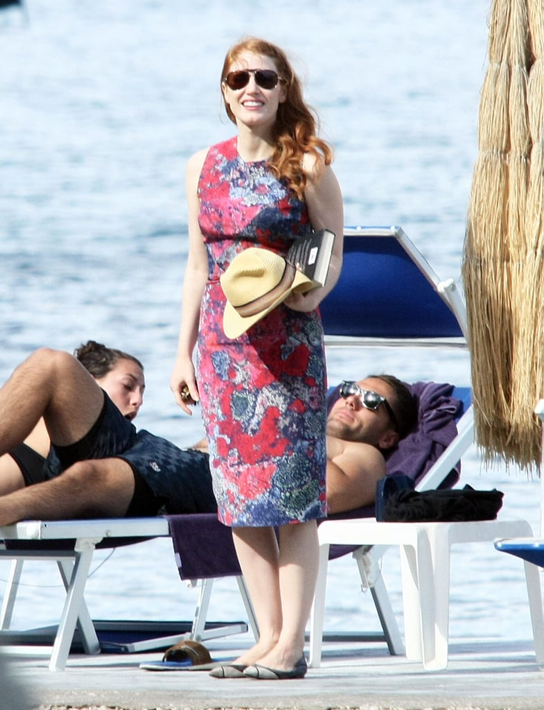 Jessica Chastain may have one of our favorite celebrity Facebook pages, but she is rarely spotted letting her hair down in public. That's why we were happily surprised to see the award-winning actress show major PDA with her Italian beau, Gian Luca Passi de Preposulo, when the two hit the beach in Ischia, Italy, on Sunday. Jessica was seen wrapping herself around her shirtless boyfriend, who was sunning himself on a chaise. Later, the two held hands and walked back to their hotel to prepare to attend a glamorous event later that evening for the Ischia Film Festival. The twosome was also spotted on Saturday when they boarded a yacht with a group of friends. Although the actress is normally very private about her relationship with Gian Luca, the couple has been spotted all around Italy holding hands and attending events together.