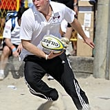 Harry played beach rugby in Brazil.