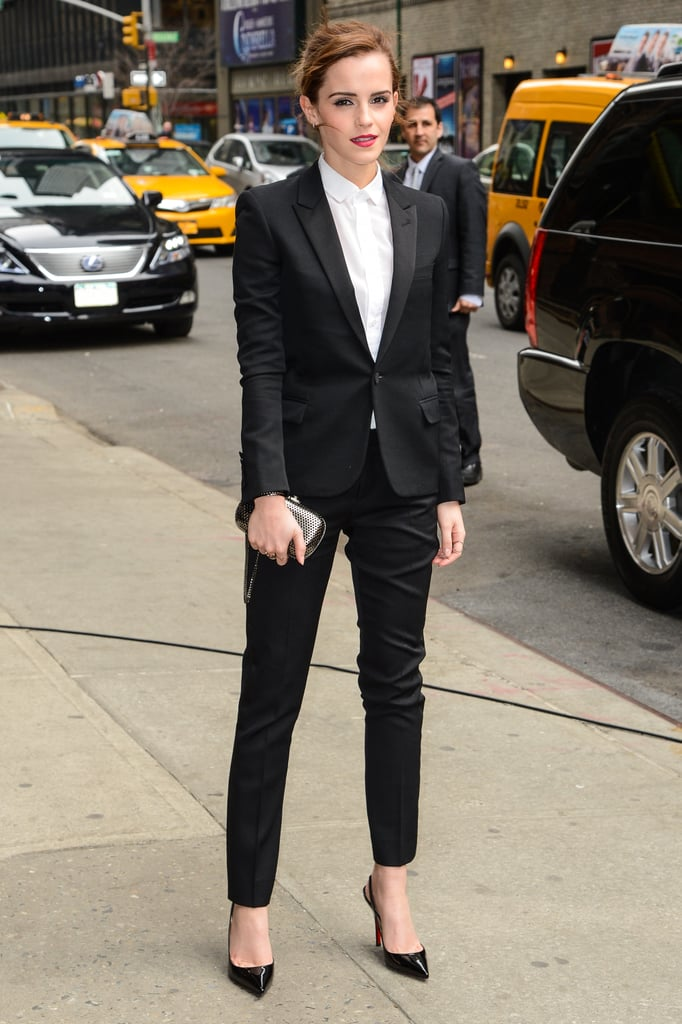 For a stop at The Late Show with David Letterman, Emma Watson picked a Saint Laurent by Hedi Slimane suit, worn over a white button-up done all the way up to the throat and Christian Louboutin Apostrophy slingbacks. The look is menswear for her at its best: there's nothing obviously sexy about the fit, but it still has a sizzle you can't deny.