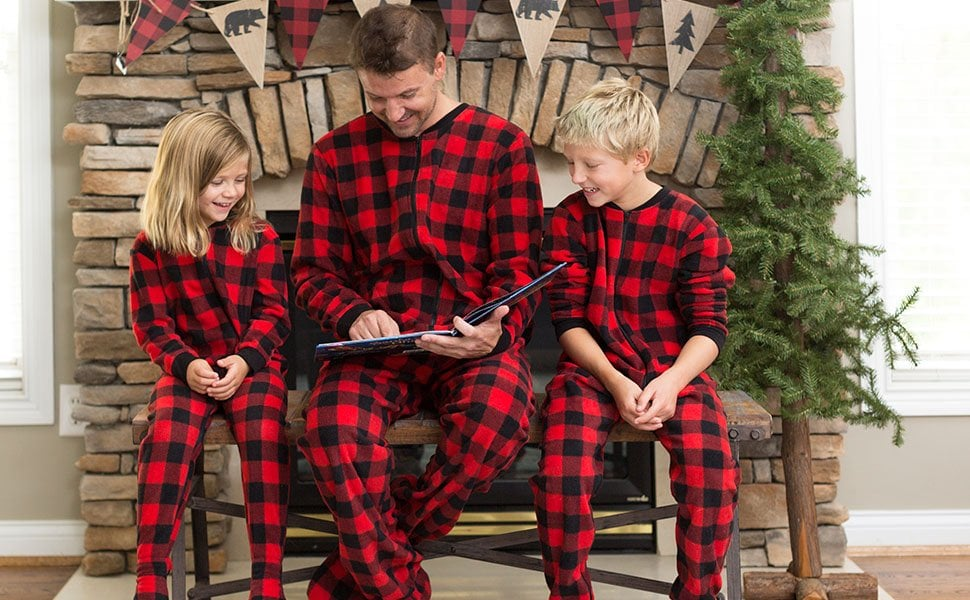 SleepytimePjs Family Matching Red Plaid Fleece Onesie  8b61a473f