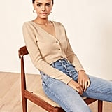 Reformation Cropped Double V Cardigan