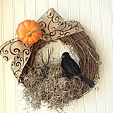 Burlap Crow Wreath