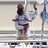 Jay-Z carried Blue on a yacht in the South of France.