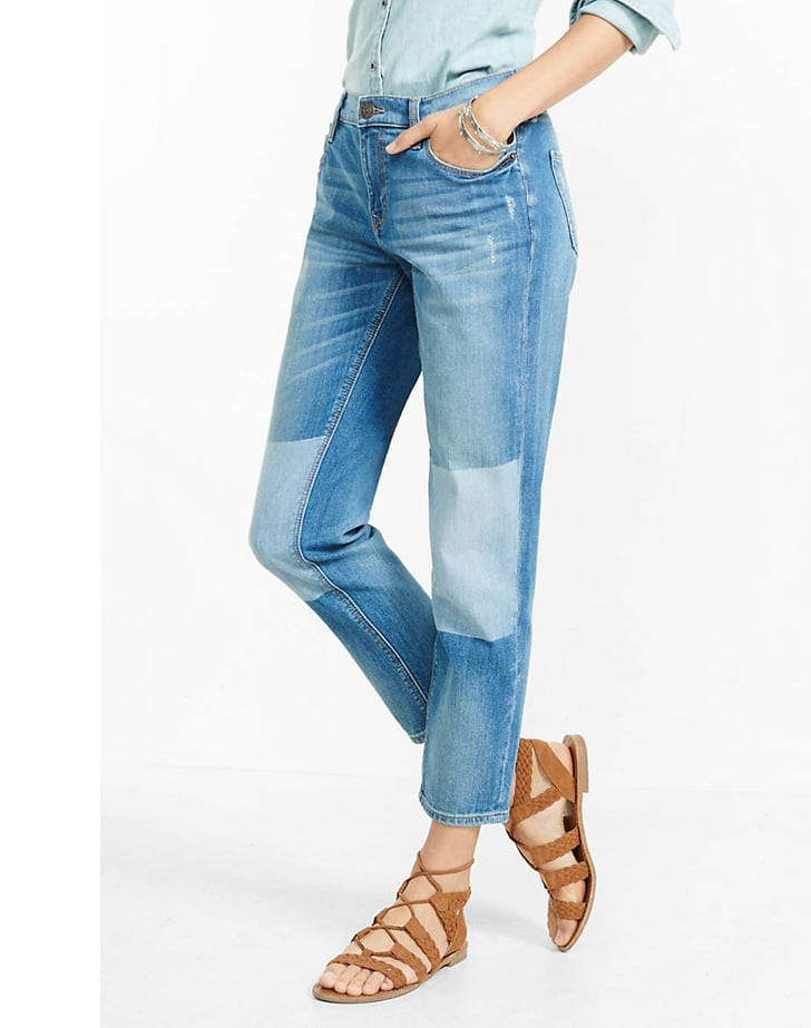 Express Distressed Shadow Patch Girlfriend Jean ($88)