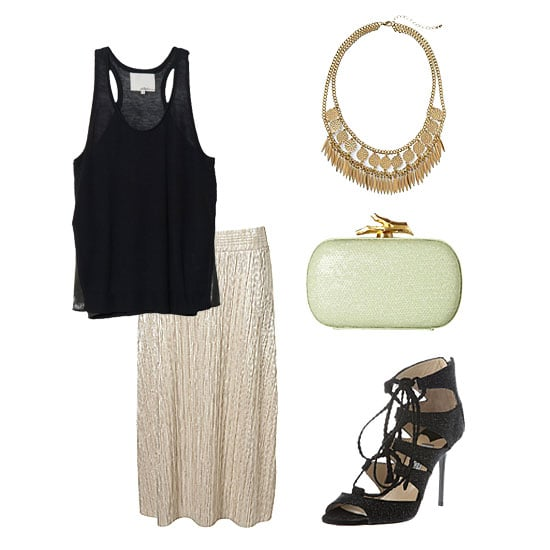 Make your metallic skirt event-worthy with a slinky tank and sexy heels. While you don't want to add too much glitz, a bold statement necklace is ideal for balancing out a low neckline and highlighting the hues in your skirt. Grab an elegant box clutch with just a touch of color to further the outfit interest. Get the look:  Topshop Metallic Pleat Calf Skirt ($56) 3.1 Phillip Lim Metallic Tank ($295) Hive & Honey Feather and Circle Necklace ($34) DVF Lytton Sequined Leather Box Clutch ($325) Jimmy Choo Gladys Sandal ($979)