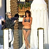 Pictures of Alessandra Ambrosio in Bikini Underwear Shooting the New Victoria's Secret Catalogue