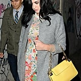 Katy Perry chose a gray coat for dinner in NYC.