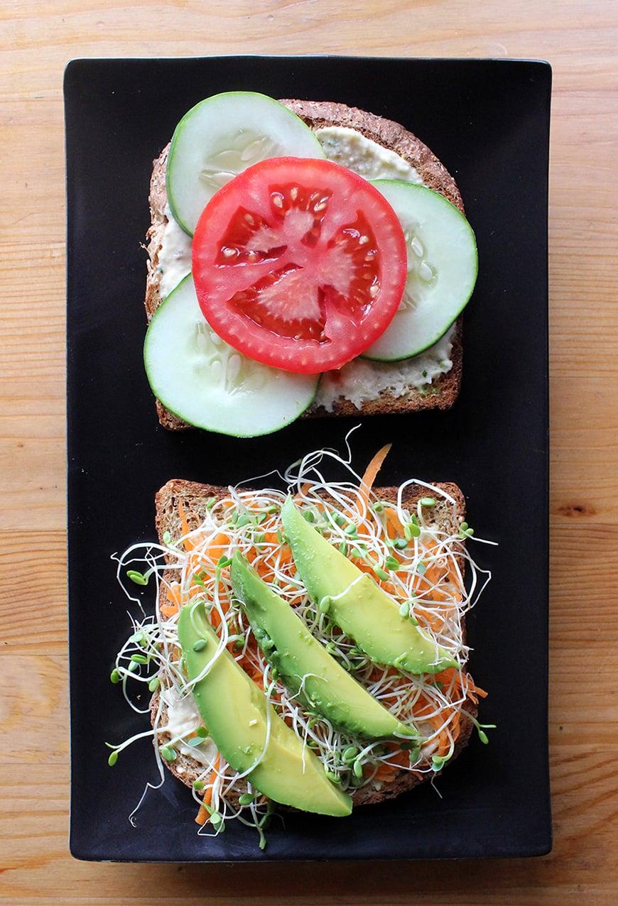 Vegan Veggie and Hummus Sandwich