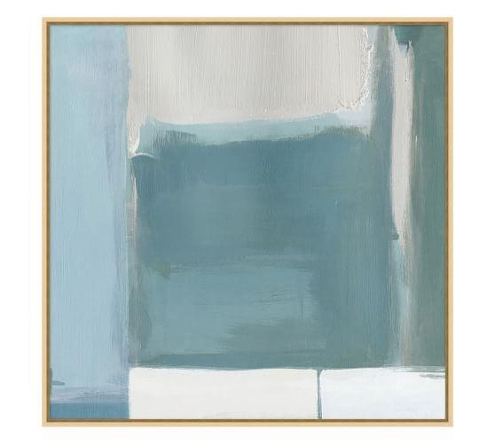 Celeste: Azure Patchwork Hand Embellished Canvas Print