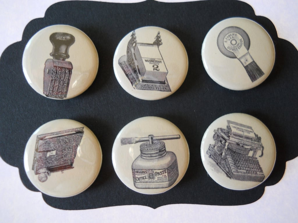 Skip the typical whiteboard magnets and go for these unique, vintage-inspired The Office Decorative Magnets ($11 for 6) instead.