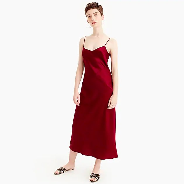 J.Crew Collection Mixed Satin-Crepe Slip Dress
