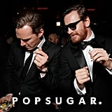 Benedict Cumberbatch and Michael Fassbender busted a move together at the Fox Golden Globes afterparty.