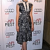 Carey Mulligan posed in a printed Peter Pilotto dress with sheer lace detail and blue peep-toe pumps during the AFI Fest in Hollywood.
