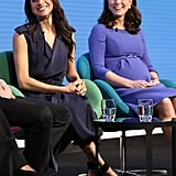 Meghan coordinated with Kate Middleton in blue when they spoke at the first annual Royal Foundation Forum in February 2018, but her Aquazzura ankle-strap pumps were an interesting contrast against her Jason Wu trench dress.