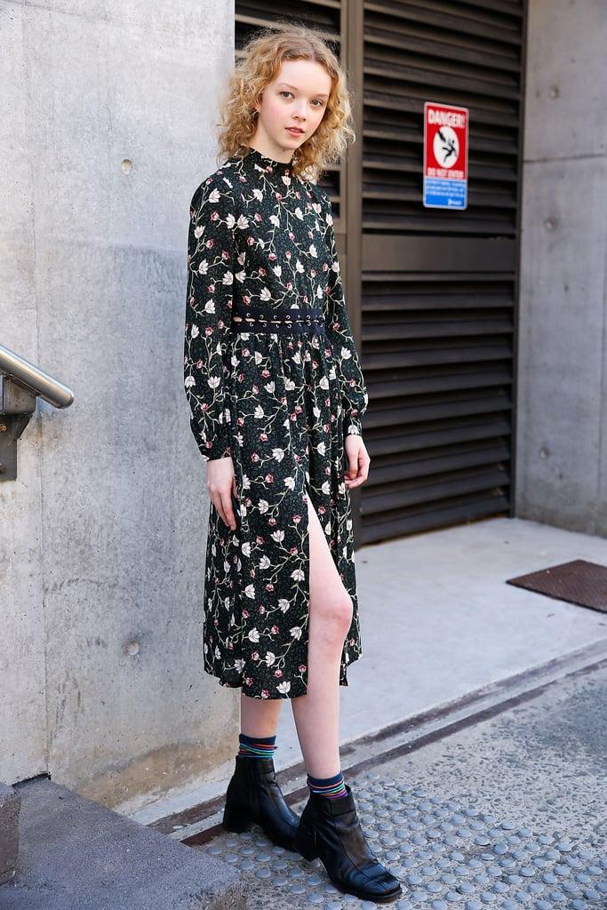 Balance a Feminine Dress With Dark Leather Boots