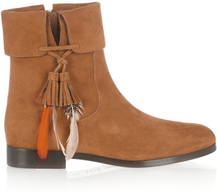Aquazzura Feathered Suede Ankle Boots ($895)