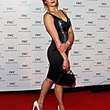 Gemma Arterton accessorized her slinky dress with white metallic cap-toe heels.