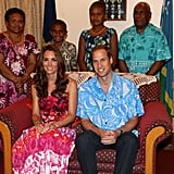 Prince William and Kate Middleton donned local prints for a September dinner on Honiara, Guadalcanal Island, with Governors-General Frank Kabui and his family.