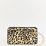 River Island Double Pouch Wristlet in Black and Leopard