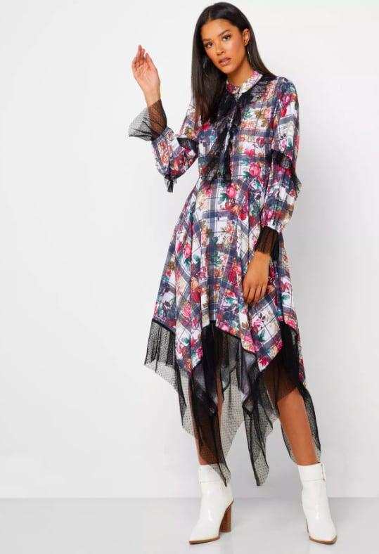 Iconic – Mesh Trim Printed Asymmetric Dress