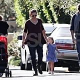 Pat Garner pushed her granddaughter's stroller on a walk with Jennifer Garner, Ben, and Seraphina Affleck.