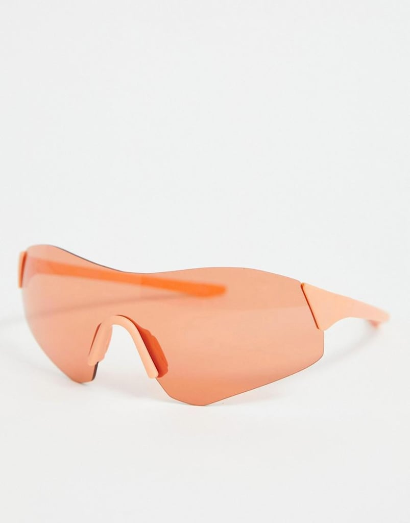 ASOS Design Rimless Wrap Visor Sunglasses