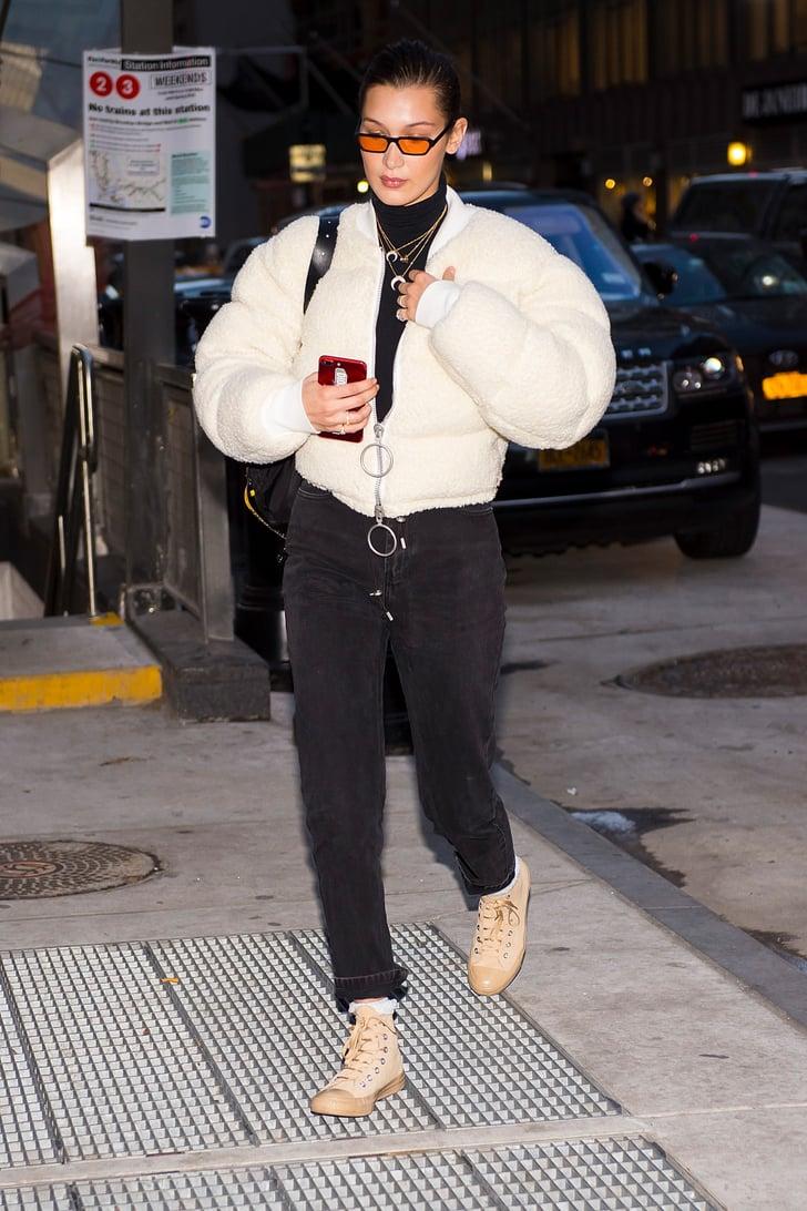 Bella Hadid's Beige Converse Sneakers | POPSUGAR Fashion