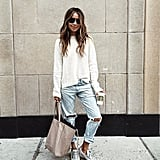 A Fuzzy Sweater, Boyfriend Jeans, and Sneakers