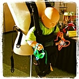 The JuJu Roo Water Baby Carrier is designed to be used in the shower or the pool with baby.