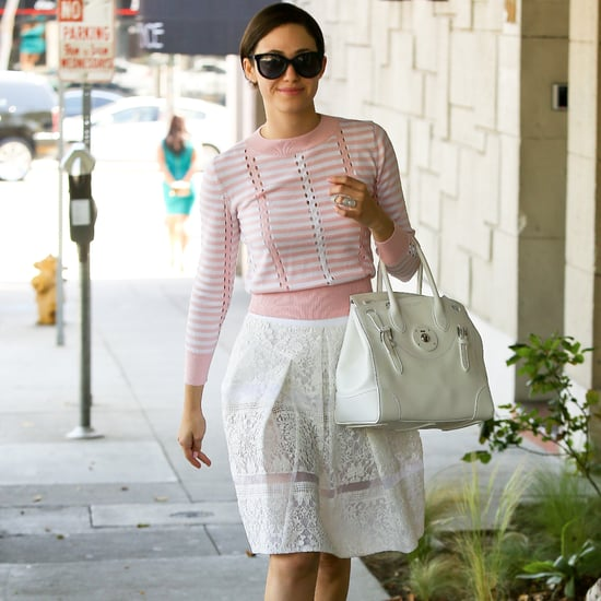 Emmy Rossum in White Lace Skirt and Pink Sweater