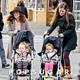 Sarah Jessica Parker and her nanny took Tabitha Broderick and Marion Broderick out in their strollers.