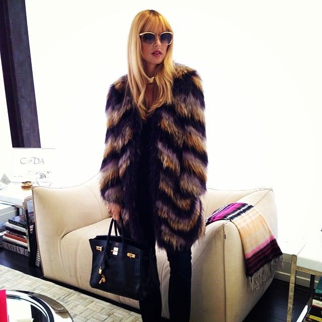 Rachel Zoe broke out her Isabel Marant coat for cold LA weather. Source: Instagram user rachelzoe