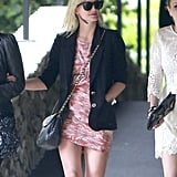 Ashlee Simpson arrived to older sister Jessica's baby shower in Los Angeles.