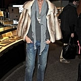 Again, her baggy jeans get capped off with a touch of luxury thanks to a fur jacket.