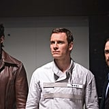 Hugh Jackman, Michael Fassbender, and James McAvoy in X-Men: Days of Future Past