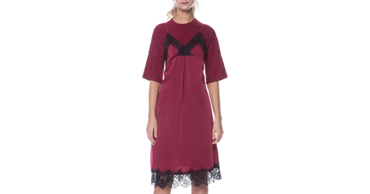 English factory satin dress jersey knit tee two fer for Jersey knit wedding dress