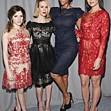 Katie Holmes met up with Tyra Banks, Sarah Paulson, and Anna Kendrick at the Marchesa show during New York Fashion Week on Wednesday.