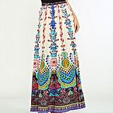 Flying Tomato Ivory & Aqua Geometric Tassle-Tie Maxi Skirt (Sold Out)