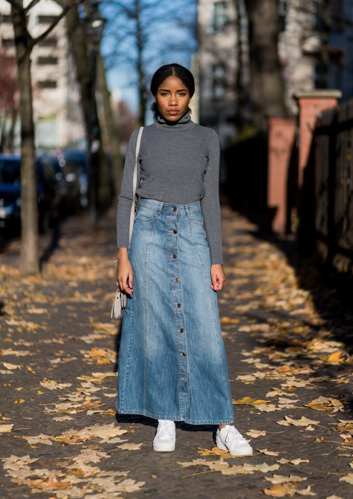 When the weather turns cool, wear a turtleneck top with your longer denim skirt.