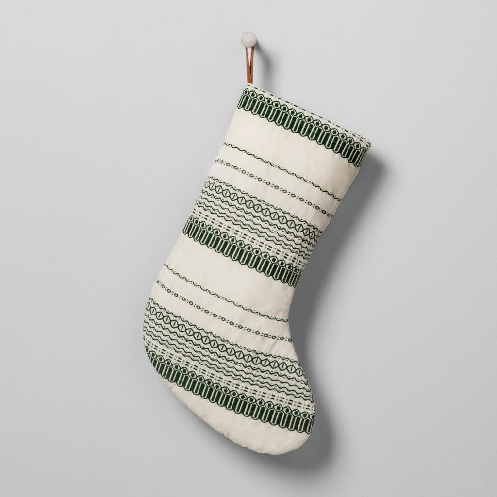 Hearth & Hand With Magnolia Green and White Striped Holiday Stocking