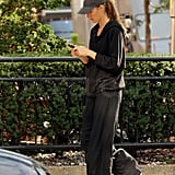 Gisele Bundchen texted on her phone.