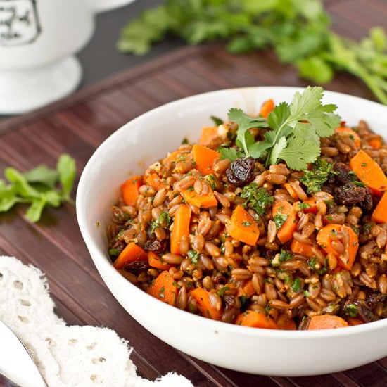 Chowing down on a big bowl of carrot raisin spelt berry salad with cumin and cilantro will be divine whether you enjoy it cold or heat it up. Haven't tried spelt berries before? Now is your shot! They're a great source of protein.